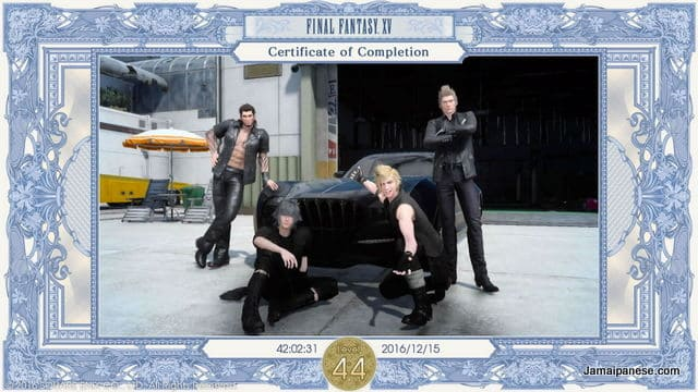 Final Fantasy XV Completion Certificate